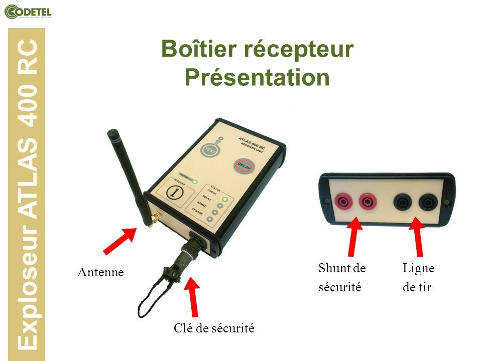 Boîtier récepteur Présentation Exploseur ATLAS 400 RC Antenne Clé de sécurité Shunt de sécurité Ligne de tir