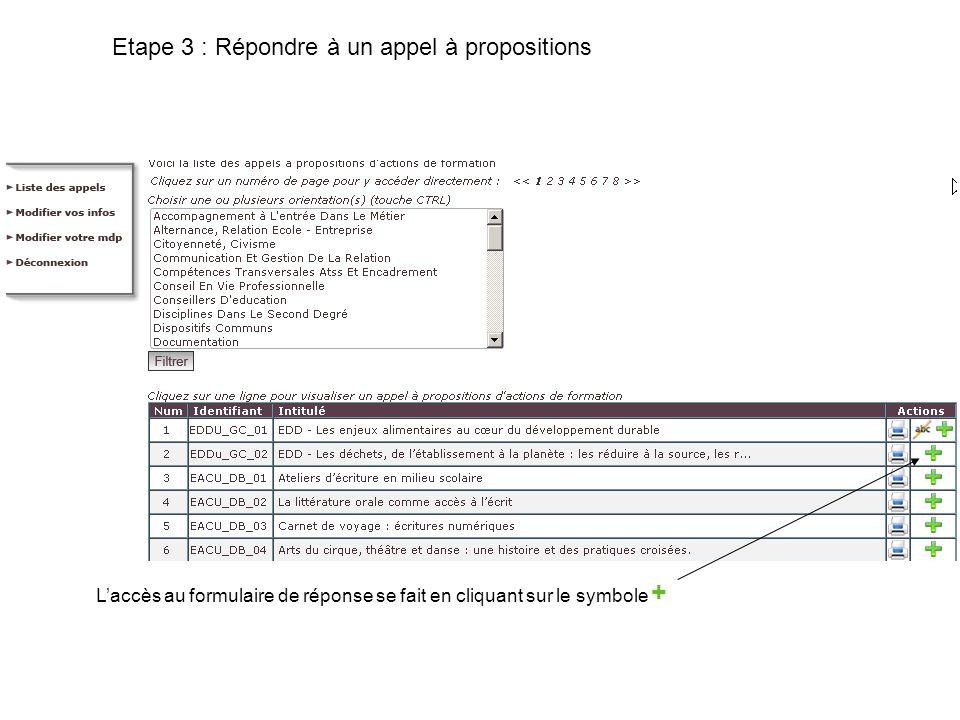 Etape 3 : Répondre à un appel à propositions Laccès au formulaire de réponse se fait en cliquant sur le symbole +