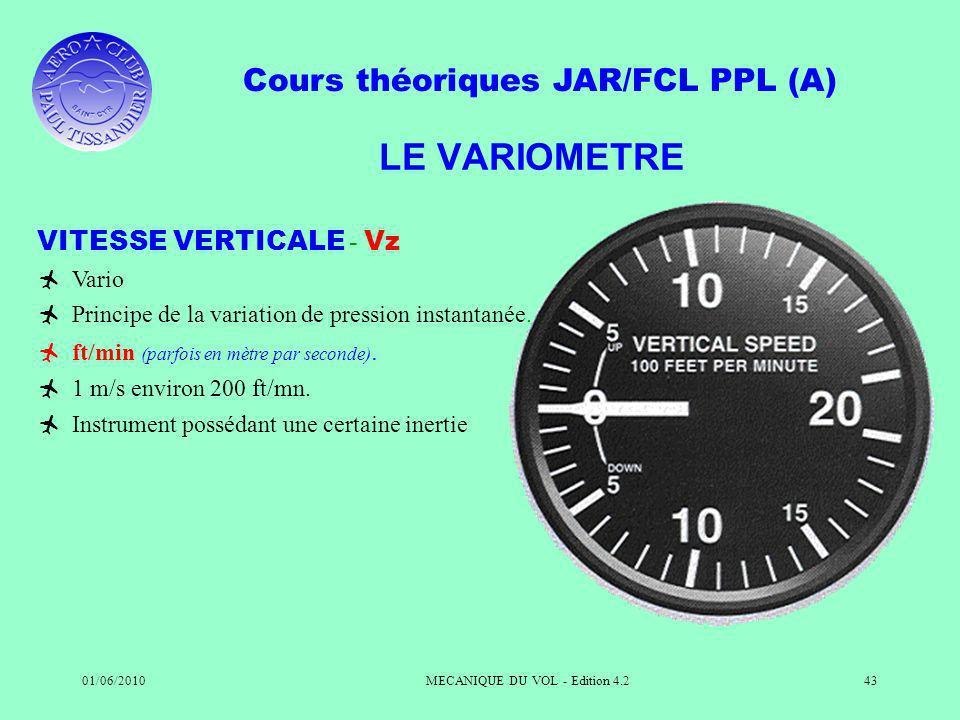 Cours théoriques JAR/FCL PPL (A) 01/06/2010MECANIQUE DU VOL - Edition 4.243 LE VARIOMETRE VITESSE VERTICALE - Vz Vario Principe de la variation de pression instantanée.