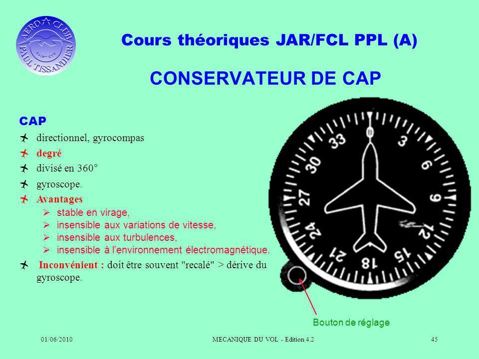 Cours théoriques JAR/FCL PPL (A) 01/06/2010MECANIQUE DU VOL - Edition 4.245 CONSERVATEUR DE CAP CAP directionnel, gyrocompas degré divisé en 360° gyroscope.