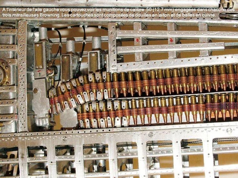 A l'intérieur de l'aile gauche vous pouvez voir les munitions de calibre.50 (12.7 mm) engagées dans chacune des trois mitrailleuses Browning. Les cart