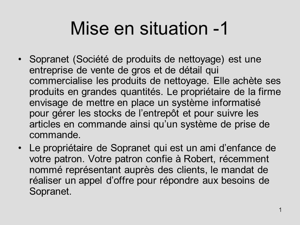 1 Mise en situation -1 Sopranet (Société de produits de nettoyage) est une entreprise de vente de gros et de détail qui commercialise les produits de nettoyage.