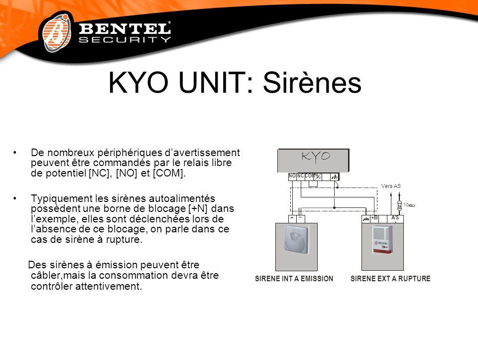 KYO UNIT: Sirènes De nombreux périphériques davertissement peuvent être commandés par le relais libre de potentiel [NC], [NO] et [COM]. Typiquement le