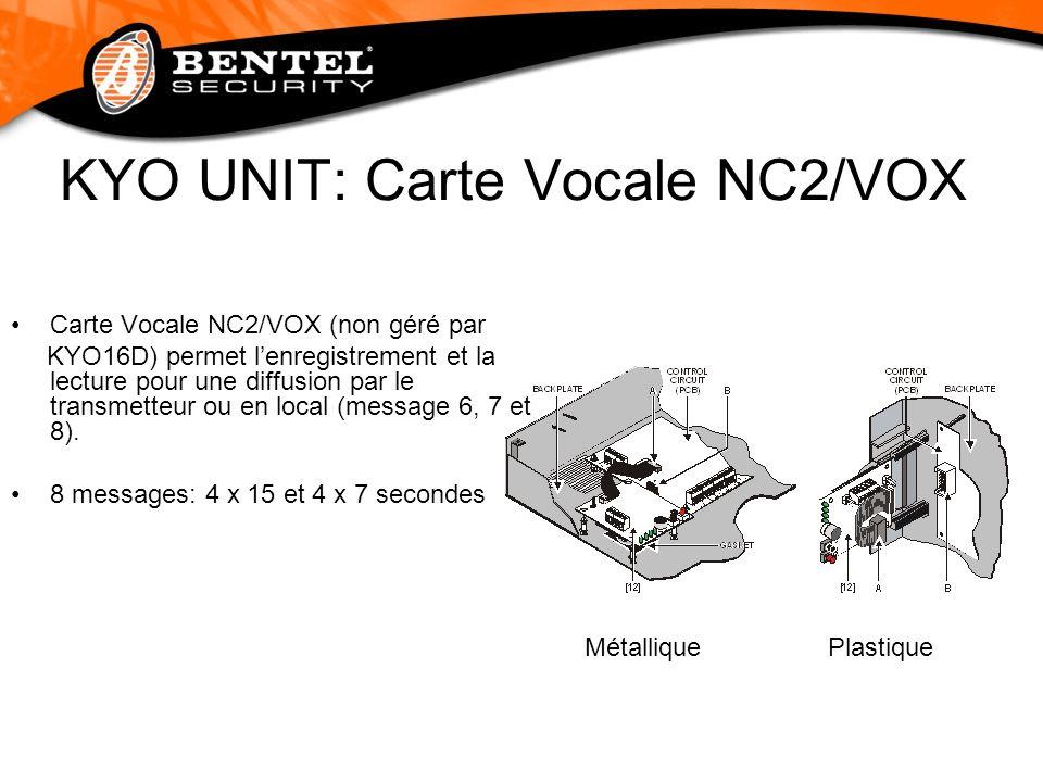 KYO UNIT: Carte Vocale NC2/VOX Carte Vocale NC2/VOX (non géré par KYO16D) permet lenregistrement et la lecture pour une diffusion par le transmetteur