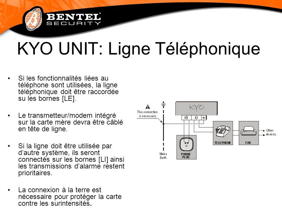 KYO UNIT: Ligne Téléphonique Si les fonctionnalités liées au téléphone sont utilisées, la ligne téléphonique doit être raccordée su les bornes [LE]. L
