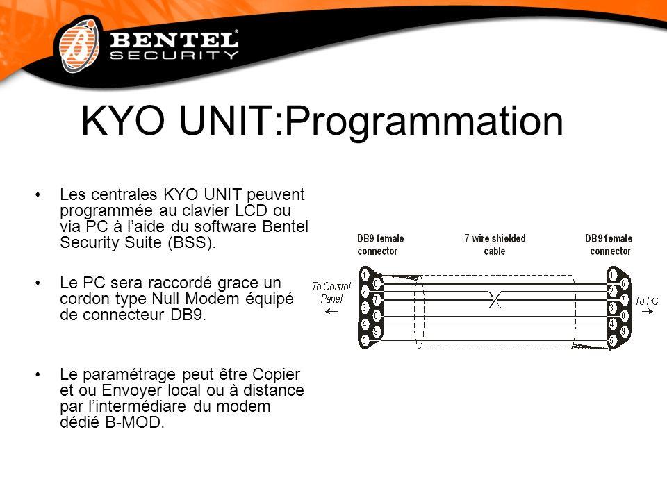 KYO UNIT:Programmation Les centrales KYO UNIT peuvent programmée au clavier LCD ou via PC à laide du software Bentel Security Suite (BSS). Le PC sera