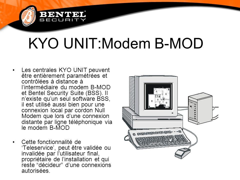 KYO UNIT:Modem B-MOD Les centrales KYO UNIT peuvent être entièrement paramétrées et contrôlées à distance à lintermédiaire du modem B-MOD et Bentel Se