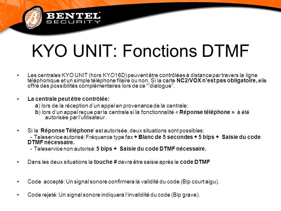 KYO UNIT: Fonctions DTMF Les centrales KYO UNIT (hors KYO16D) peuvent être contrôlées à distance par travers la ligne téléphonique et un simple téléph