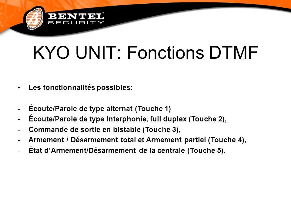KYO UNIT: Fonctions DTMF Les fonctionnalités possibles: -Écoute/Parole de type alternat (Touche 1) -Écoute/Parole de type Interphonie, full duplex (To