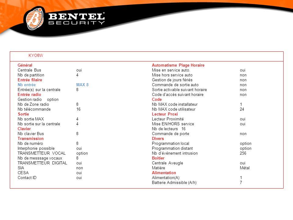 KYO8W Général Centrale Busoui Nb de partition4 Entrée filaire Nb entrée MAX 8 Entrée(s) sur la centrale8 Entrée radio Gestion radiooption Nb de Zone r