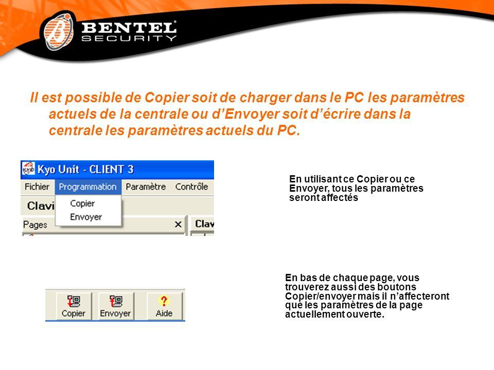 Il est possible de Copier soit de charger dans le PC les paramètres actuels de la centrale ou dEnvoyer soit décrire dans la centrale les paramètres ac