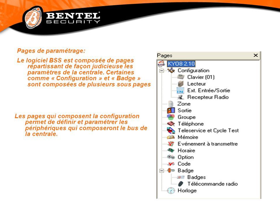 Pages de paramétrage: Le logiciel BSS est composée de pages répartissant de façon judicieuse les paramètres de la centrale. Certaines comme « Configur