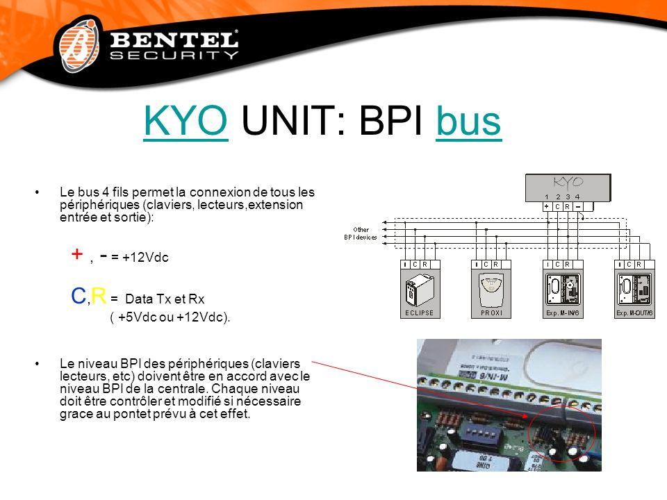 KYOKYO UNIT: BPI busbus Le bus 4 fils permet la connexion de tous les périphériques (claviers, lecteurs,extension entrée et sortie): +, - = +12Vdc C,