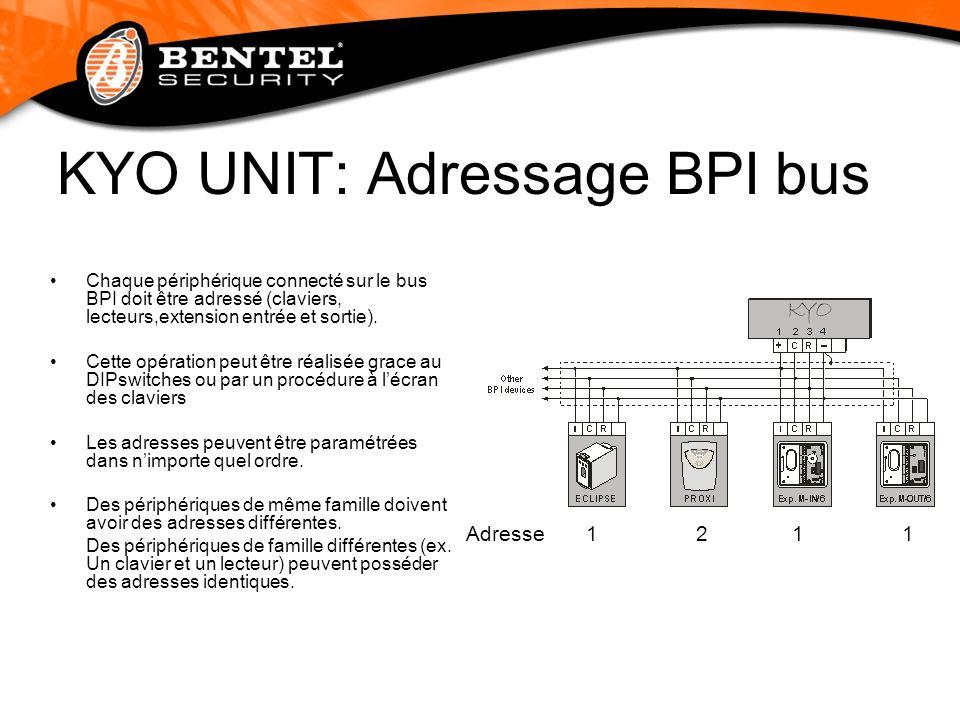 KYO UNIT: Adressage BPI bus Chaque périphérique connecté sur le bus BPI doit être adressé (claviers, lecteurs,extension entrée et sortie). Cette opéra
