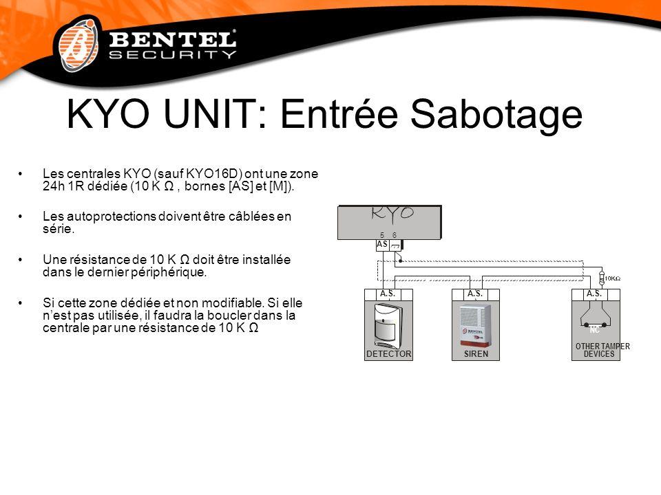 KYO UNIT: Entrée Sabotage Les centrales KYO (sauf KYO16D) ont une zone 24h 1R dédiée (10 K, bornes [AS] et [M]). Les autoprotections doivent être câbl