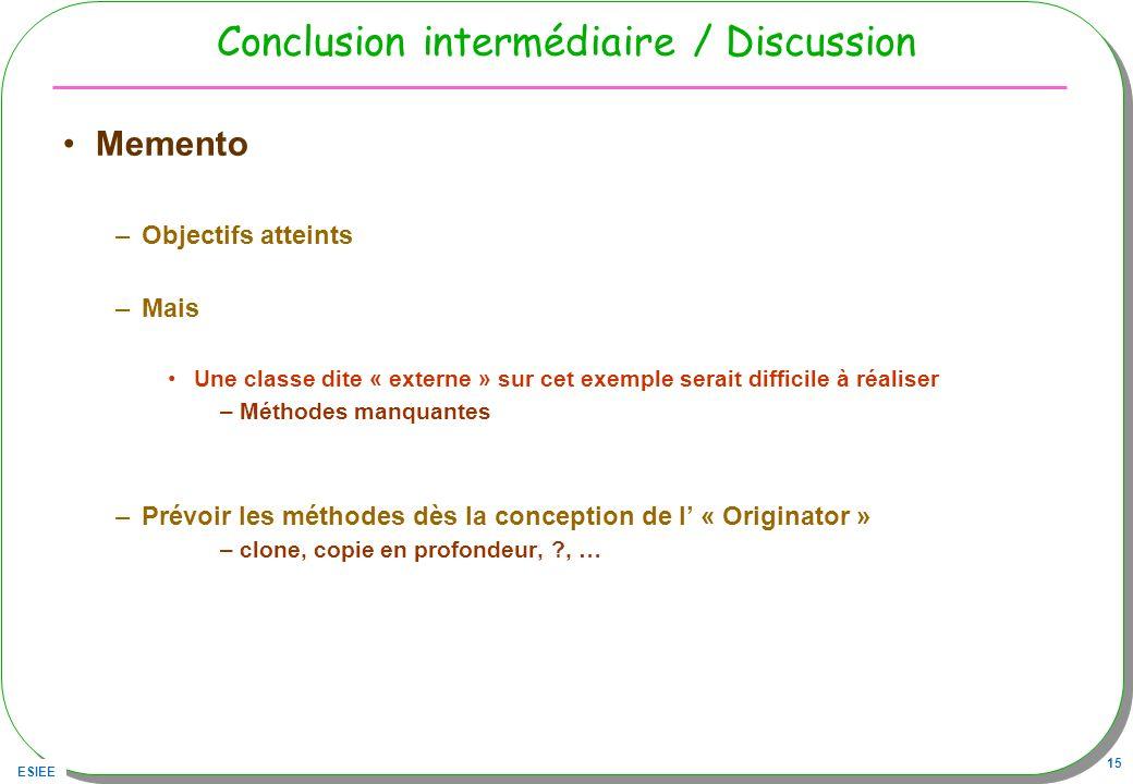 ESIEE 15 Conclusion intermédiaire / Discussion Memento –Objectifs atteints –Mais Une classe dite « externe » sur cet exemple serait difficile à réalis