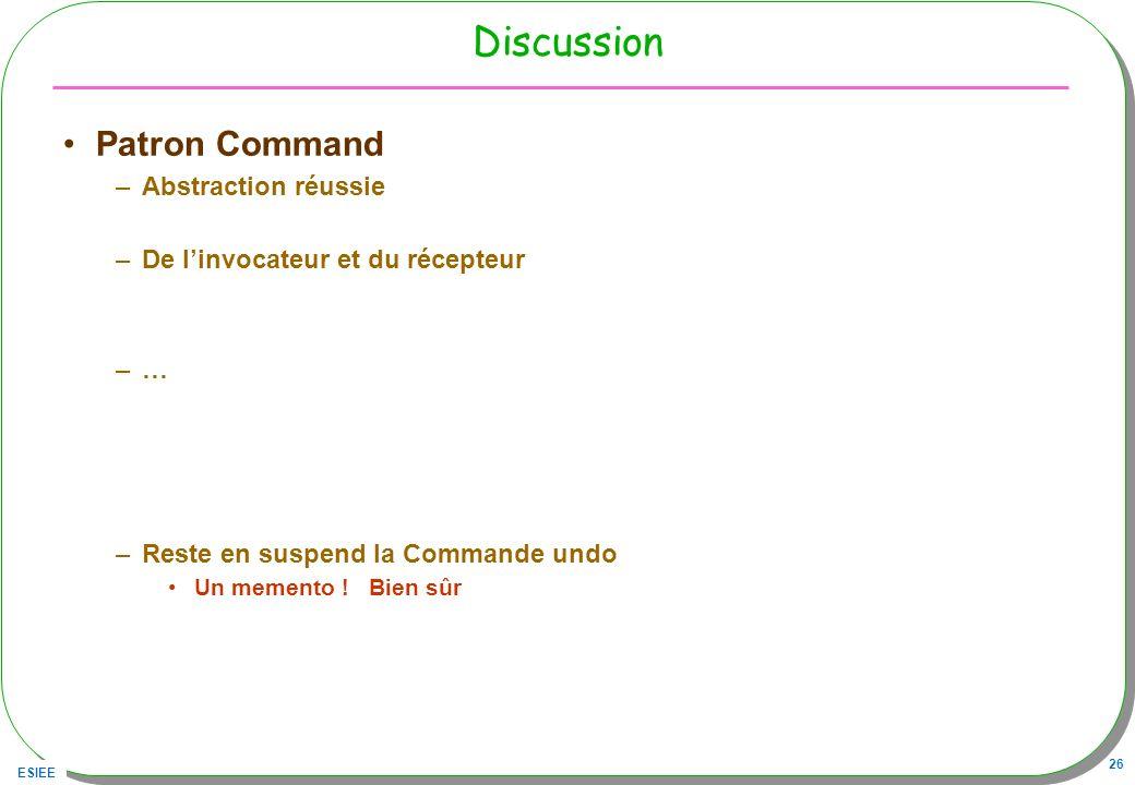 ESIEE 26 Discussion Patron Command –Abstraction réussie –De linvocateur et du récepteur –… –Reste en suspend la Commande undo Un memento .