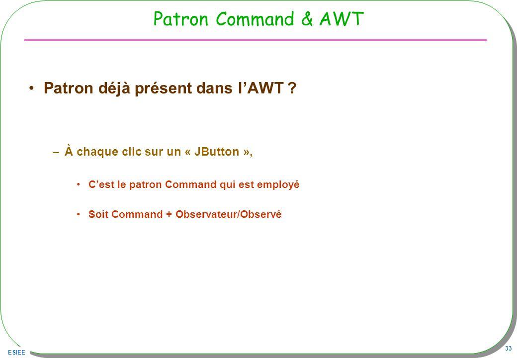ESIEE 33 Patron Command & AWT Patron déjà présent dans lAWT ? –À chaque clic sur un « JButton », Cest le patron Command qui est employé Soit Command +