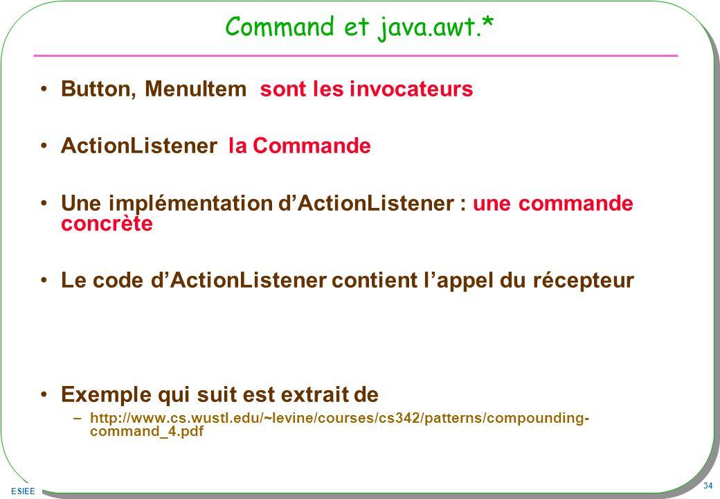 ESIEE 34 Command et java.awt.* Button, MenuItem sont les invocateurs ActionListener la Commande Une implémentation dActionListener : une commande concrète Le code dActionListener contient lappel du récepteur Exemple qui suit est extrait de –http://www.cs.wustl.edu/~levine/courses/cs342/patterns/compounding- command_4.pdf