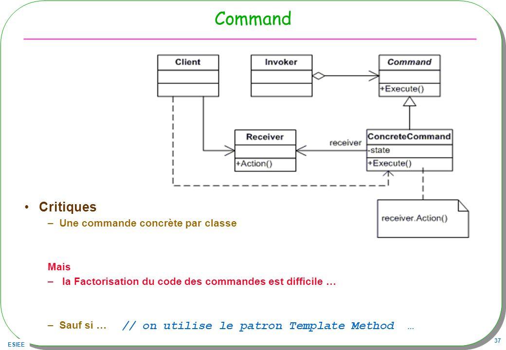 ESIEE 37 Command Critiques –Une commande concrète par classe Mais – la Factorisation du code des commandes est difficile … –Sauf si … // on utilise le patron Template Method …