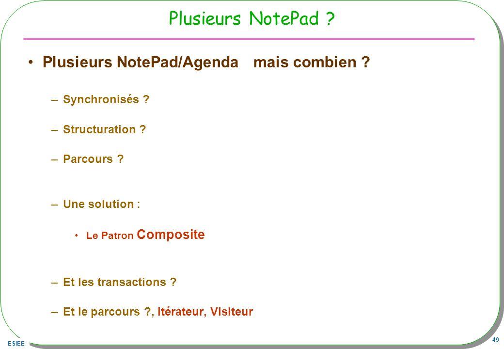 ESIEE 49 Plusieurs NotePad ? Plusieurs NotePad/Agenda mais combien ? –Synchronisés ? –Structuration ? –Parcours ? –Une solution : Le Patron Composite