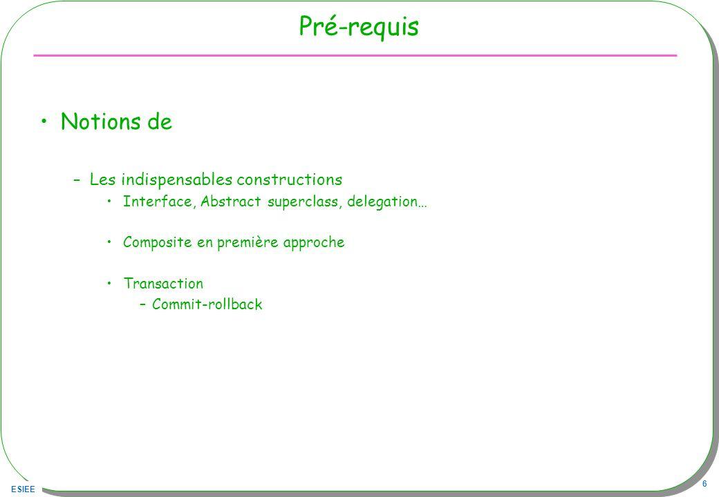 ESIEE 27 Command & Memento public class AddCommand implements Command { private NotePad notes; private Caretaker gardien; // le conservateur public AddCommand(NotePad notepad){ this.notes = notepad; gardien = new Caretaker(); } public void execute(String note){ gardien.setMemento(notes.createMemento()); try{ notes.addNote(note); }catch(NotePadFullException e){} } public void undo(){ notes.setMemento(gardien.getMemento()); }} // rien en cas derreur ??
