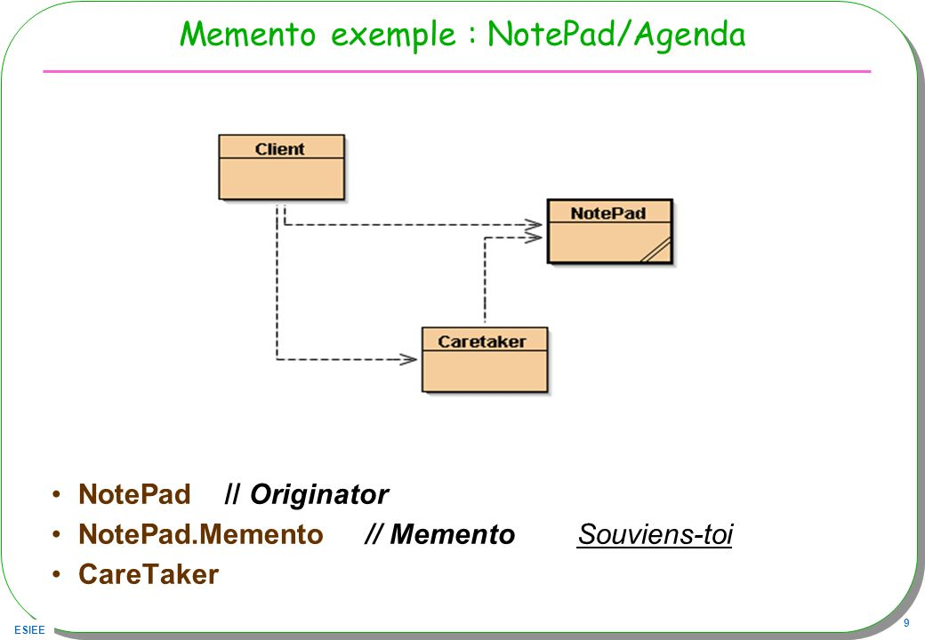 ESIEE 9 Memento exemple : NotePad/Agenda NotePad // Originator NotePad.Memento // Memento Souviens-toi CareTaker