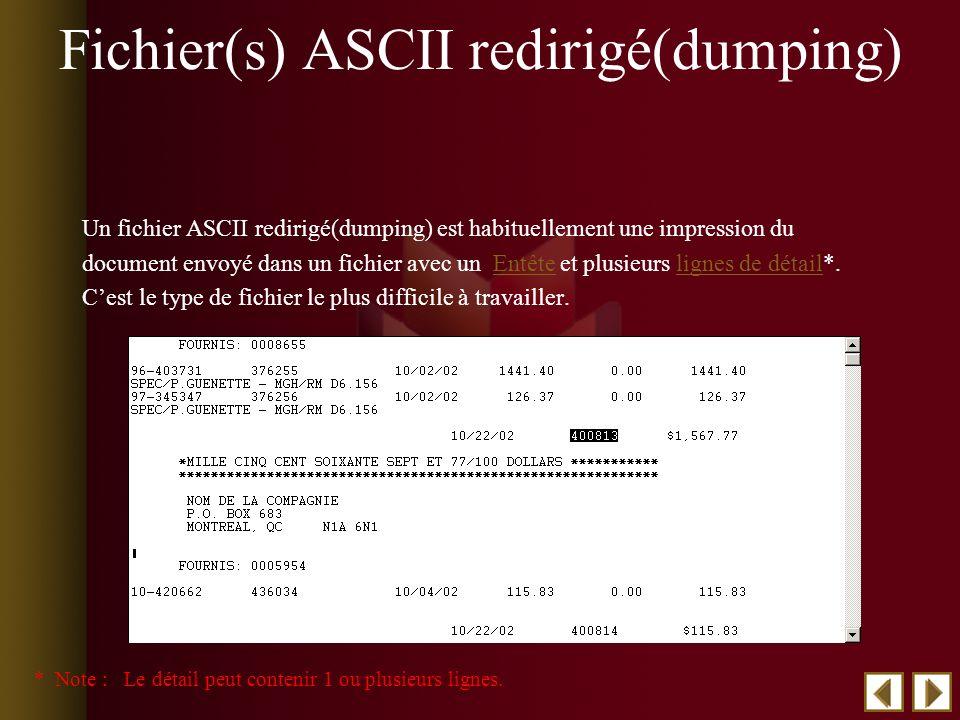 Fichier(s) ASCII redirigé(dumping) Un fichier ASCII redirigé(dumping) est habituellement une impression du document envoyé dans un fichier avec un Entête et plusieurs lignes de détail*.Entêtelignes de détail Cest le type de fichier le plus difficile à travailler.