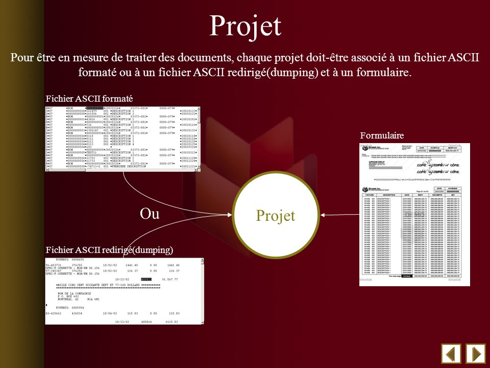 Ou Pour être en mesure de traiter des documents, chaque projet doit-être associé à un fichier ASCII formaté ou à un fichier ASCII redirigé(dumping) et à un formulaire.