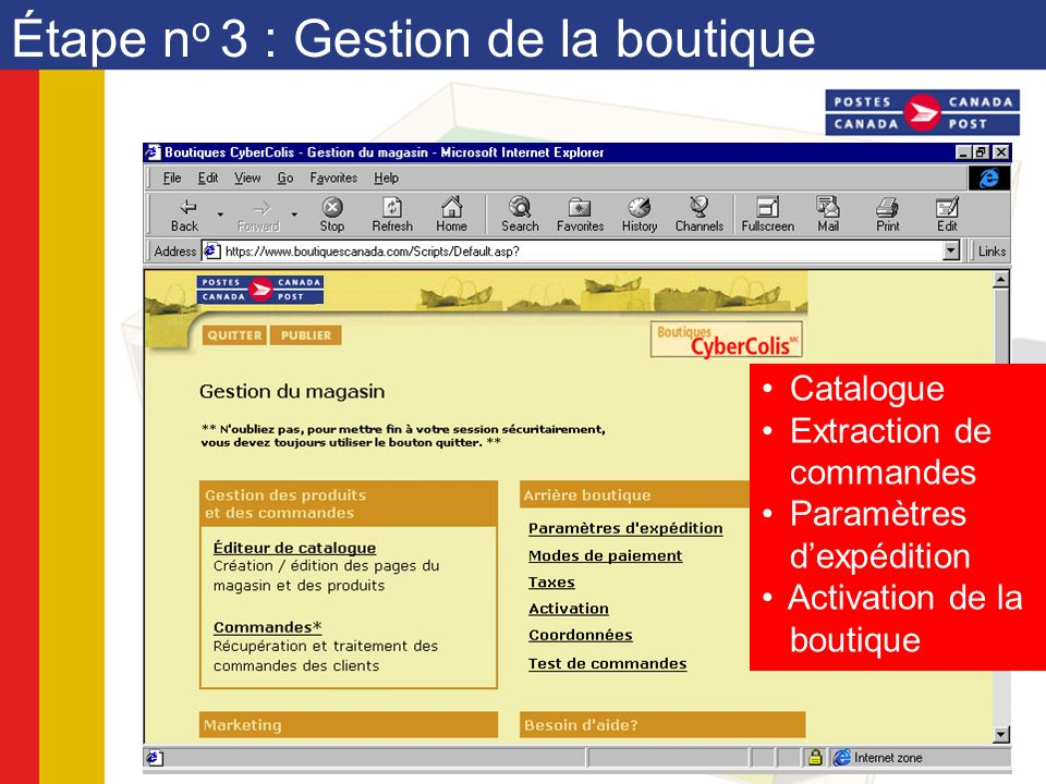 Étape n o 3 : Gestion de la boutique Catalogue Extraction de commandes Paramètres dexpédition Activation de la boutique