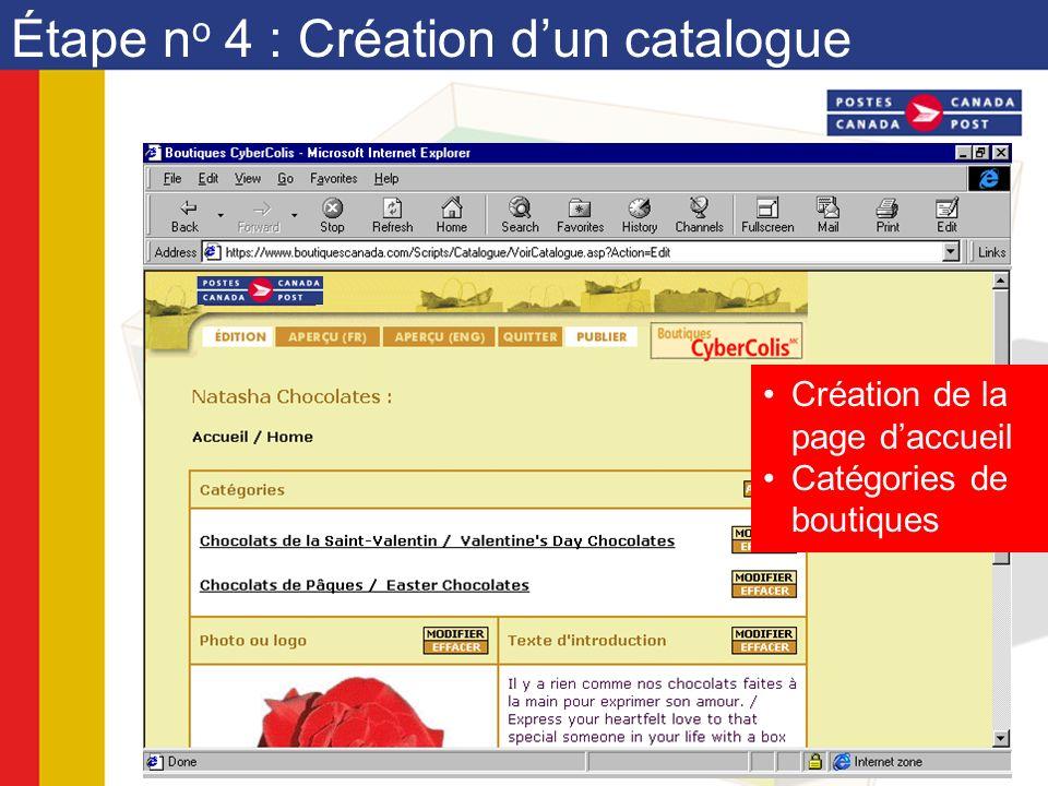 Étape n o 4 : Création dun catalogue Création de la page daccueil Catégories de boutiques