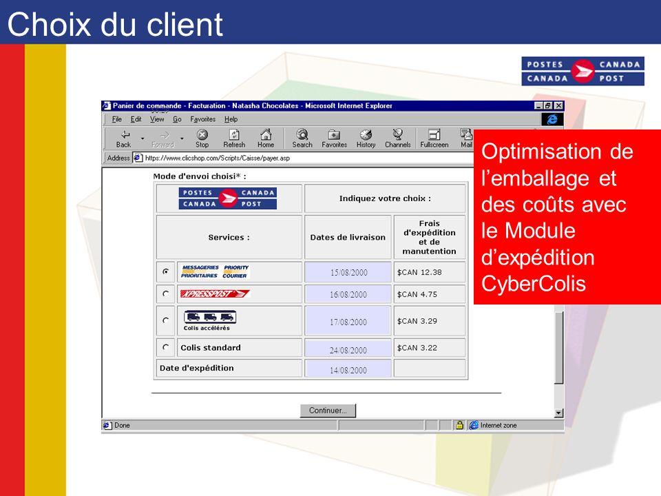 Optimisation de lemballage et des coûts avec le Module dexpédition CyberColis Choix du client $8.29 17/08/2000 15/08/2000 16/08/2000 24/08/2000 14/08/