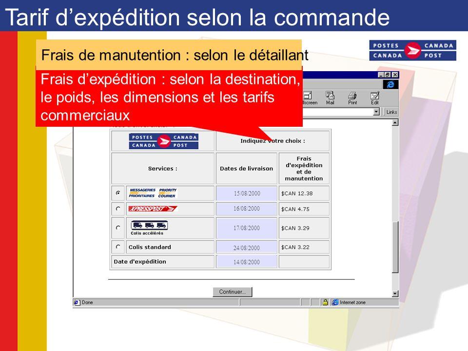 Tarif dexpédition selon la commande Frais dexpédition : selon la destination, le poids, les dimensions et les tarifs commerciaux Frais de manutention