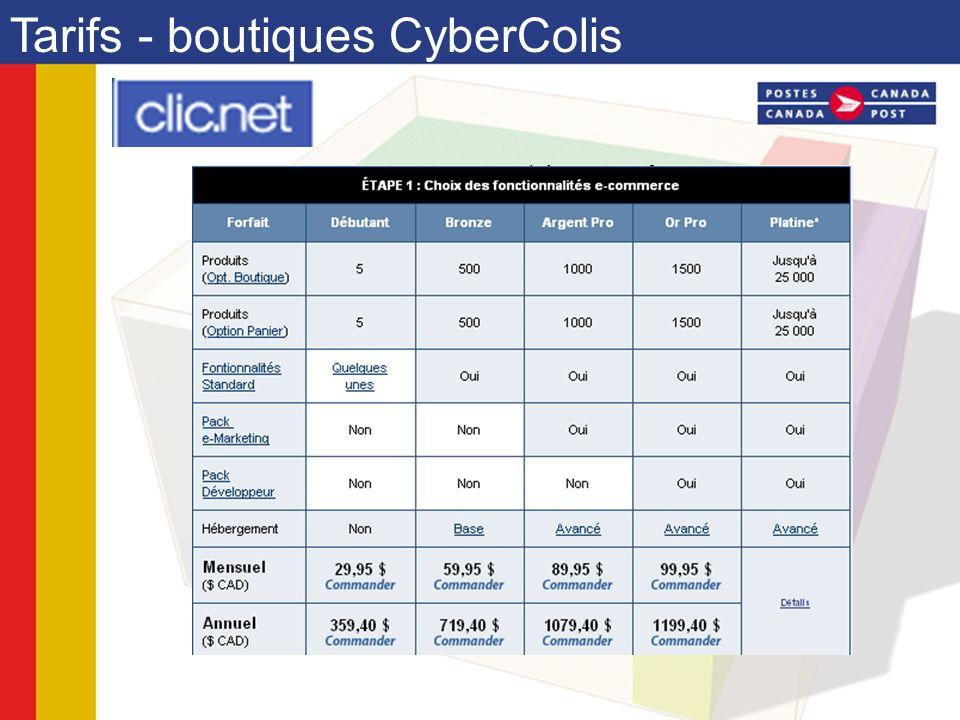 Tarifs - boutiques CyberColis