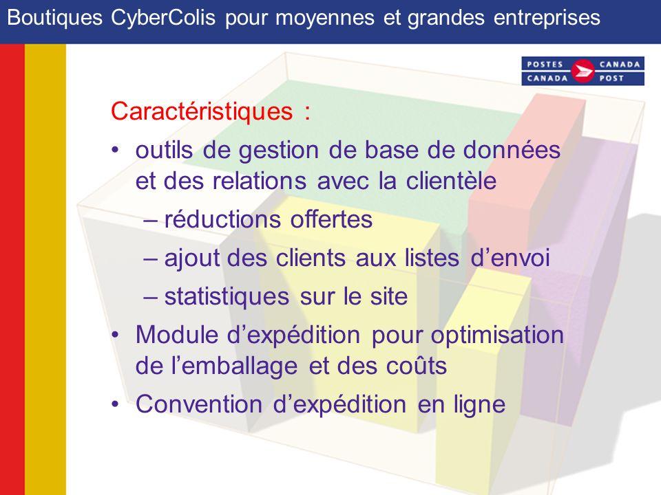 Boutiques CyberColis pour moyennes et grandes entreprises Caractéristiques : outils de gestion de base de données et des relations avec la clientèle –