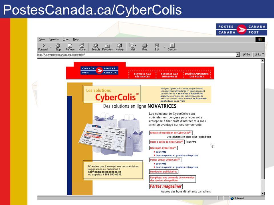 Accès à la boutique commerciale Accéder le site de postes Canada www.postescanada.ca À la page daccueil, sélectionnez les hyperliens suivants : –Entreprise –Produits et services –Cyberventes –Créer un magasin virtuel