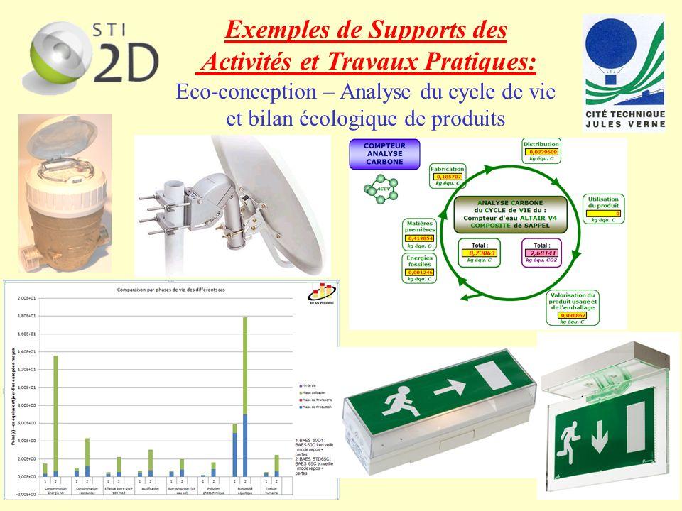 Exemples de Supports des Activités et Travaux Pratiques: Eco-conception – Analyse du cycle de vie et bilan écologique de produits
