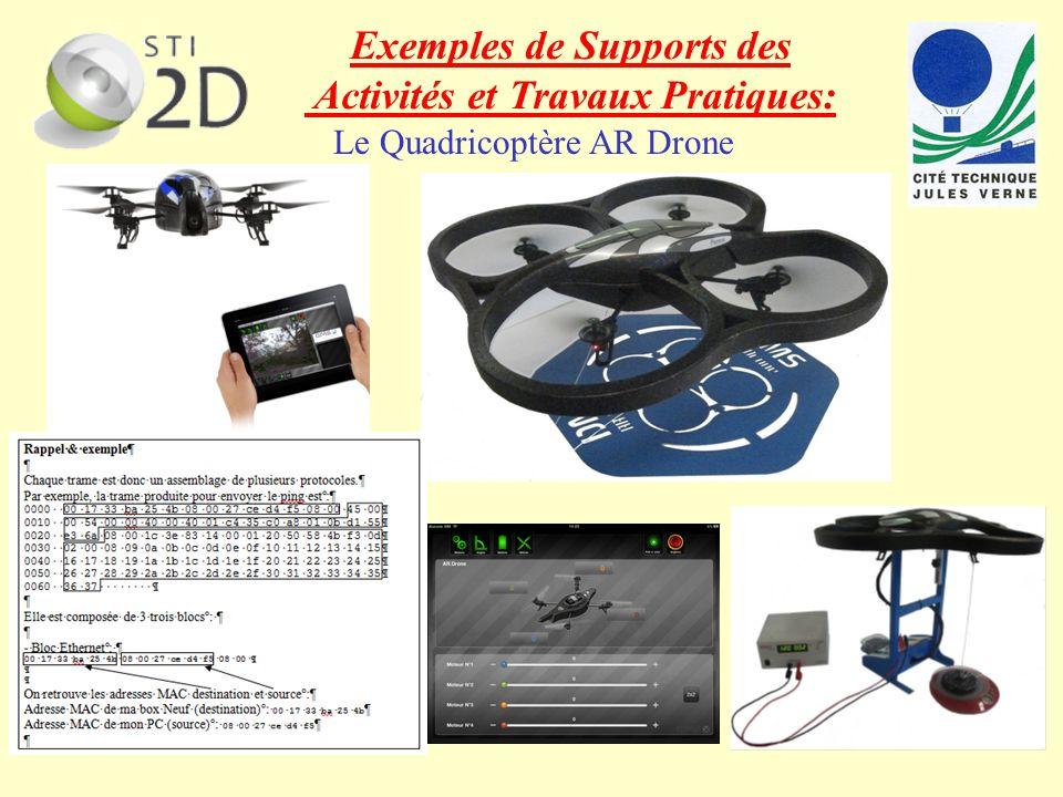 texte Le Quadricoptère AR Drone Exemples de Supports des Activités et Travaux Pratiques: