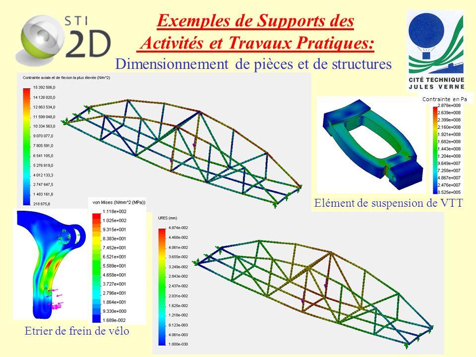 Exemples de Supports des Activités et Travaux Pratiques: Dimensionnement de pièces et de structures Contrainte en Pa Etrier de frein de vélo Elément d
