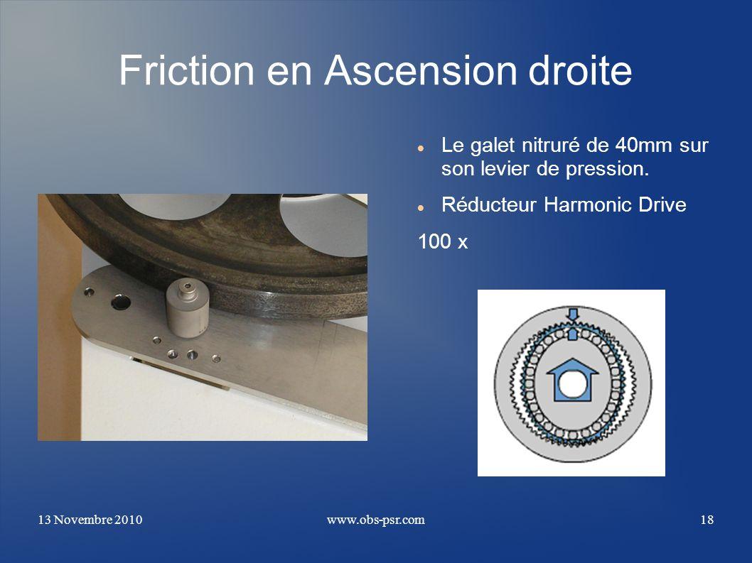 13 Novembre 2010www.obs-psr.com18 Friction en Ascension droite Le galet nitruré de 40mm sur son levier de pression. Réducteur Harmonic Drive 100 x