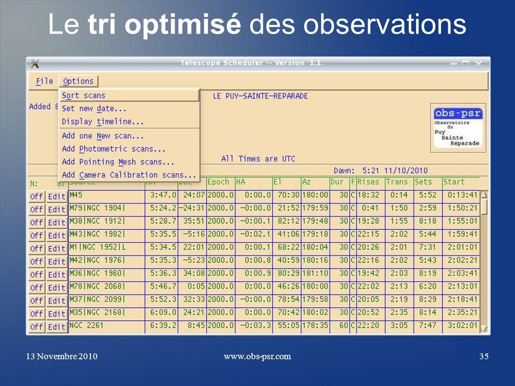 13 Novembre 2010www.obs-psr.com35 Le tri optimisé des observations