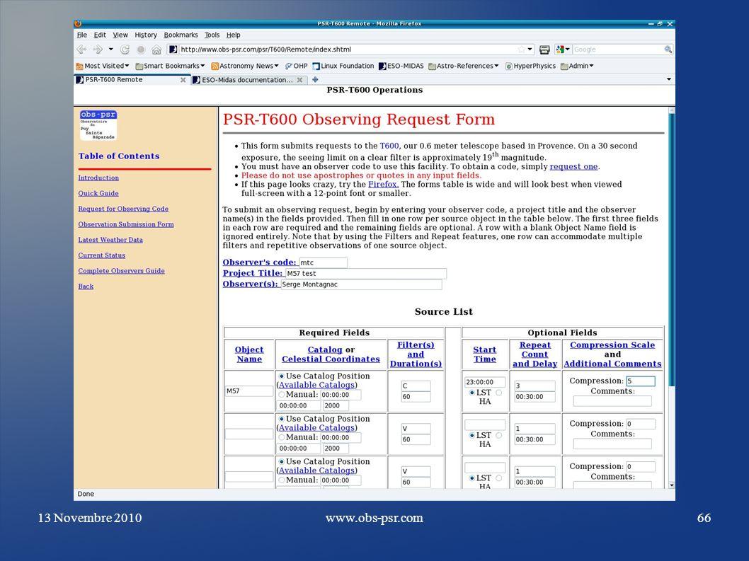 13 Novembre 2010www.obs-psr.com66