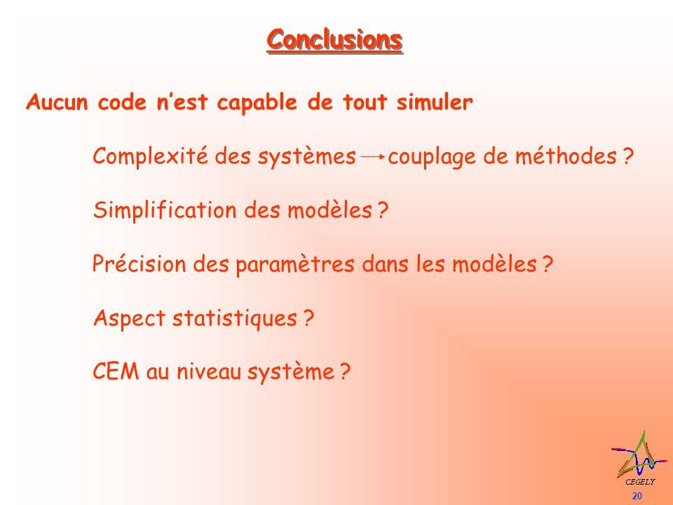 20 Conclusions Aucun code nest capable de tout simuler Complexité des systèmes couplage de méthodes ? Simplification des modèles ? Précision des param