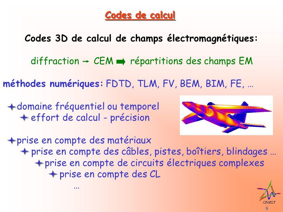 7 Codes de calcul de réseaux de câbles: impédances des 3 composants dun réseau: source, câbles, charge fréquentiels (en général): dépendance fréquentielle des paramètres du réseau temporel: dépendance fréquentielle difficile des paramètres du réseau échantillonnage de la longueur des câbles précision: dépend de l approximation de la méthode TL de la description des fils Mesuré Calculé Mesuré Calculé