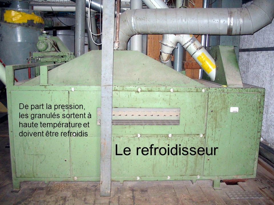 Le refroidisseur De part la pression, les granulés sortent à haute température et doivent être refroidis