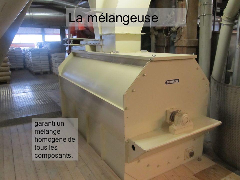 La presse à granulés comprime laliment fini sous la forme de pellets.