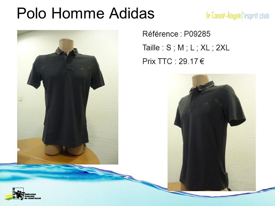 Polo Homme Adidas Référence : P09285 Taille : S ; M ; L ; XL ; 2XL Prix TTC : 29.17