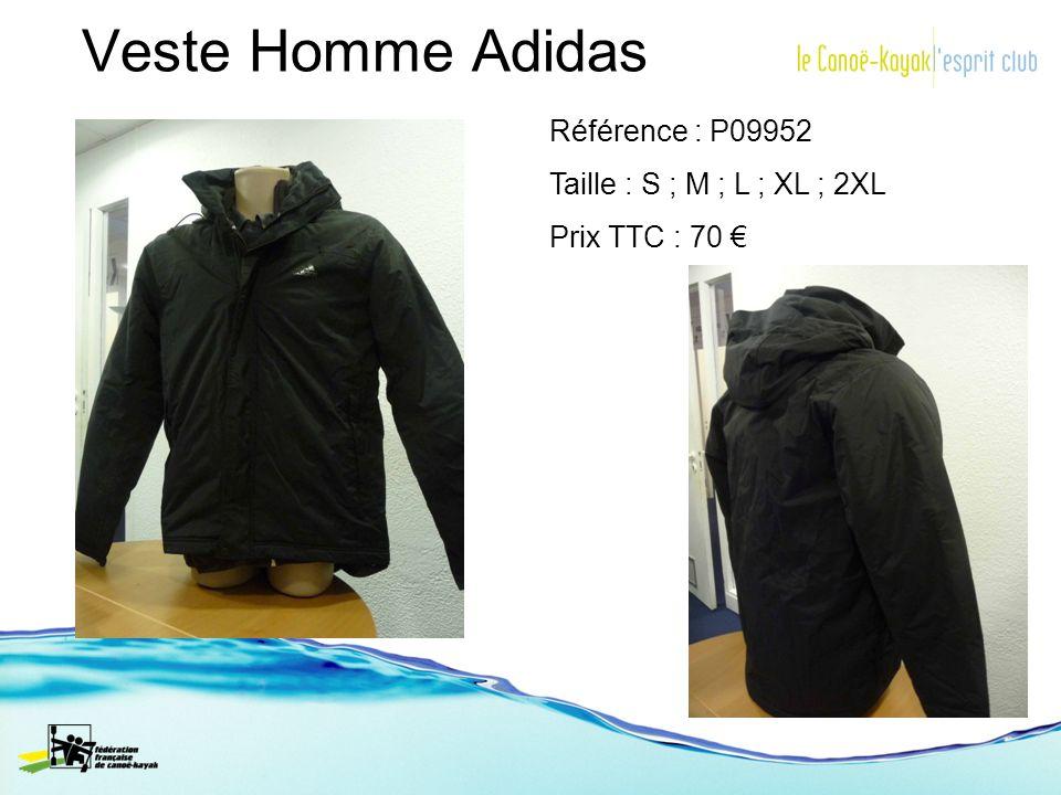 Veste Homme Adidas Référence : P09952 Taille : S ; M ; L ; XL ; 2XL Prix TTC : 70