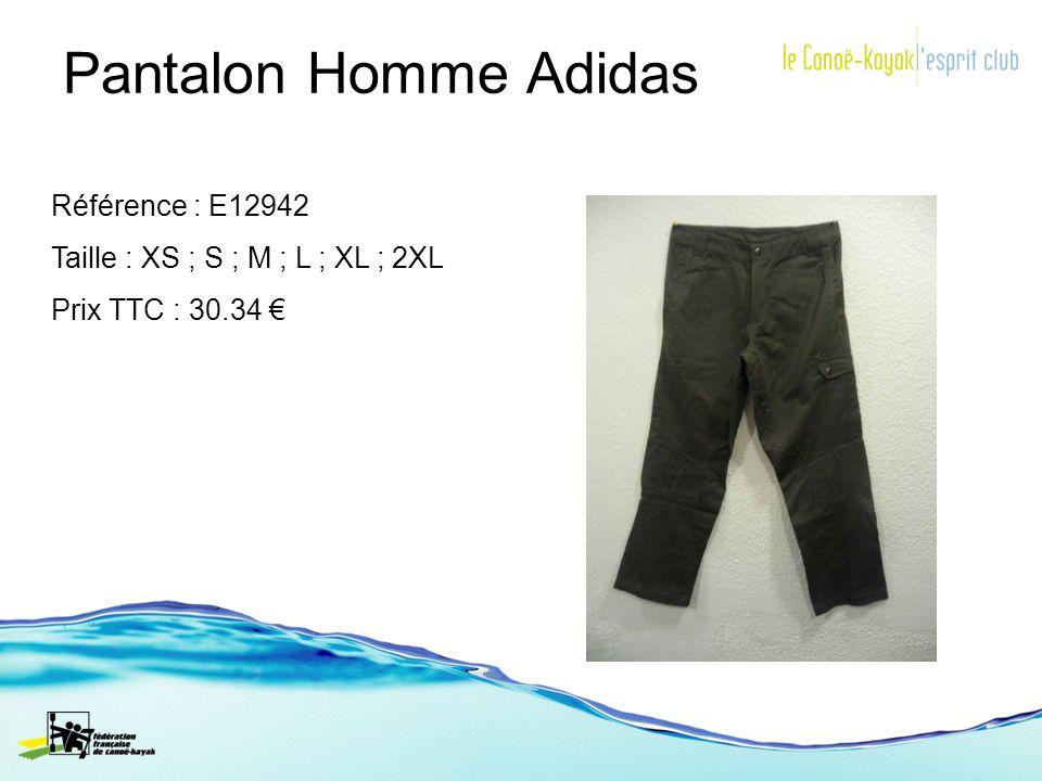 Pantalon Homme Adidas Référence : E12942 Taille : XS ; S ; M ; L ; XL ; 2XL Prix TTC : 30.34