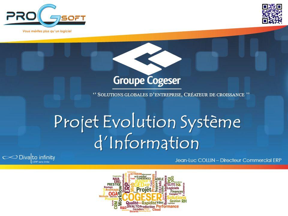 Projet Evolution Système dInformation Jean-Luc COLLIN – Directeur Commercial ERP S OLUTIONS GLOBALES D ENTREPRISE, C RÉATEUR DE CROISSANCE